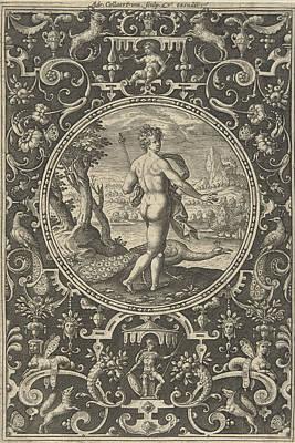 Hera Drawing - Medallion Featuring Juno With Peacock, Adriaen Collaert by Adriaen Collaert