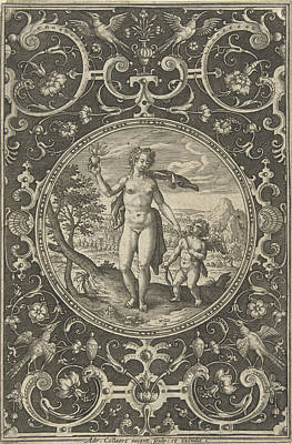 Tendrils Drawing - Medallion Which Venus With The Paris Apple In Her Hand by Adriaen Collaert