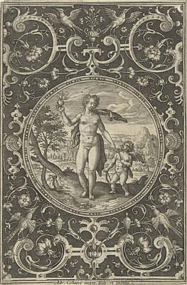 Medallion Which Venus With The Paris Apple In Her Hand Art Print by Adriaen Collaert