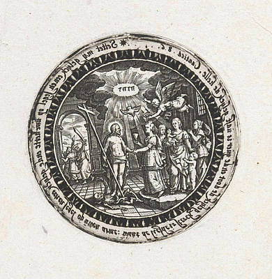 Holy Ghost Drawing - Medallion With A Depiction Of The Marriage Of Christ by Dirck Strijcker