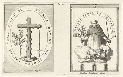 Star-crossed Drawing - Medallion With Cross Of Knotty Wood by Jan Luyken And Henricus Wetstein
