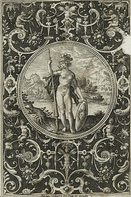 Medusa Drawing - Medallion With Minerva With Spear And Shield With Medusa by Litz Collection