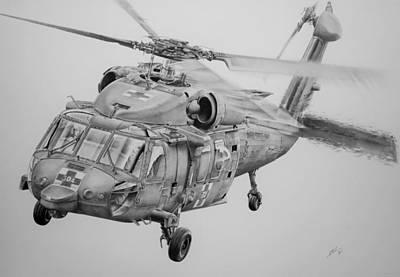 Helicopter Drawing - Medevac by James Baldwin Aviation Art