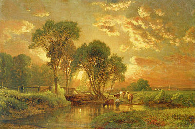 Sunset Landscape Wall Art - Painting - Medfield Massachusetts by Inness