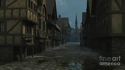 Mediaeval Street At Evening Art Print