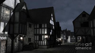 Mediaeval Town Street At Night Art Print