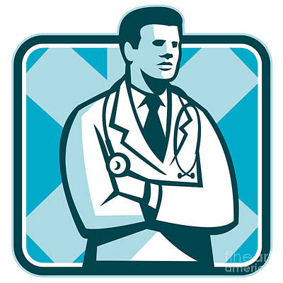 Workers Digital Art - Medical Doctor Physician Stethoscope Standing Retro by Aloysius Patrimonio