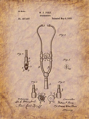 Drawing - Medical - Heart - 1882 Ford Stethoscope Patent by Barry Jones