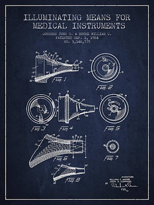 Medical Instrument Patent From 1964 - Navy Blue Art Print