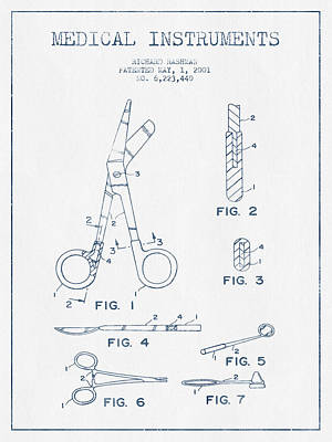 Medical Instruments Patent From 2001   - Blue Ink Art Print