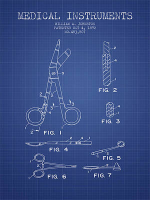 Medical Instruments Patent From 2001 - Blueprint Art Print by Aged Pixel
