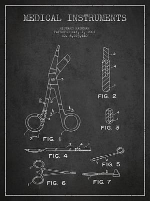 Medical Instruments Patent From 2001 - Dark Art Print