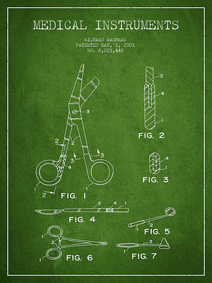 Medical Instruments Patent From 2001 - Green Art Print by Aged Pixel