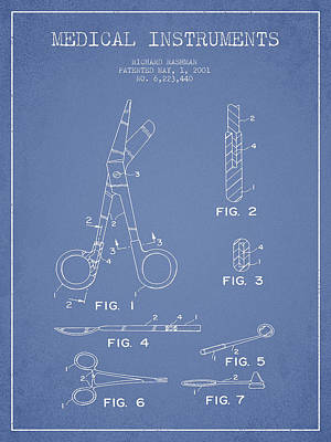 Ink Drawing Digital Art - Medical Instruments Patent From 2001 - Light Blue by Aged Pixel