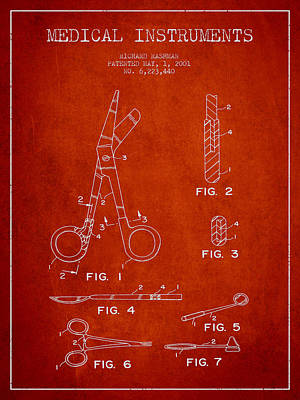 Medical Instruments Patent From 2001 - Red Art Print