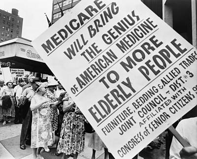 Retirees Photograph - Medicare Rally, 1965 by Granger
