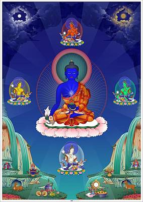 Buddhist Painting - Medicine Buddha With Healing Dakinis by Fred Van der Zee