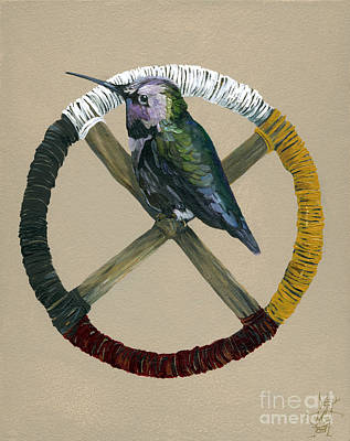 Hummingbird Painting - Medicine Wheel by J W Baker