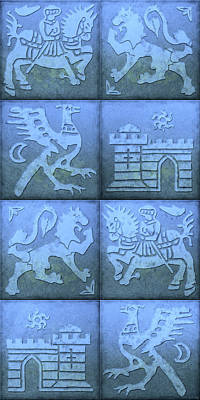 Medieval Style Painting - Medieval 8-tile Collage Blue by S L Kellaway