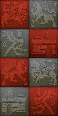 Medieval Style Painting - Medieval 8-tile Collage Brick And Slate by S L Kellaway