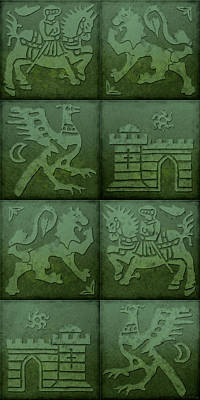 Medieval Style Painting - Medieval 8-tile Collage Emerald by S L Kellaway