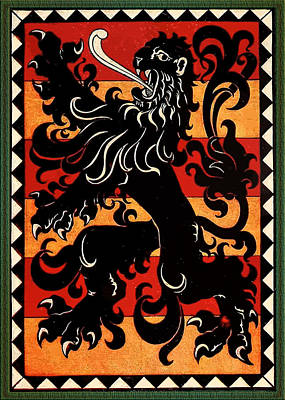 Digital Art - Medieval Belgian Heraldic Lion by Serge Averbukh