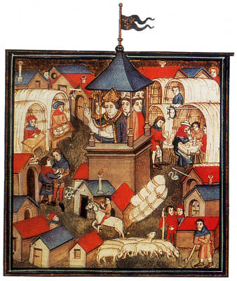 Medieval Benediction And Market Fair Art Print