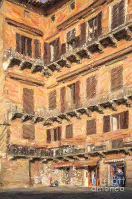 Tuscany Digital Art - Medieval Corner In Siena Italy by Liz Leyden