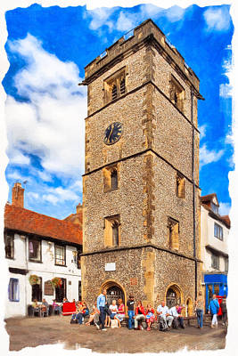 Photograph - Medieval English Village Clock Tower - St Albans by Mark E Tisdale