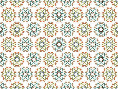 Chaos Maze Digital Art - Medieval Fabric Arrows Flowers by Jozef Jankola