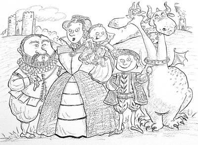 Medieval Family Portrait Ink & Crayon Paper Art Print