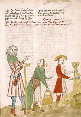 Medieval Farm Workers Art Print by Renaissance And Medieval Manuscripts Collection/new York Public Library