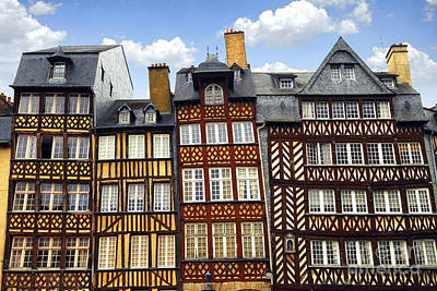 Leaning Building Photograph - Medieval Houses In Rennes by Elena Elisseeva