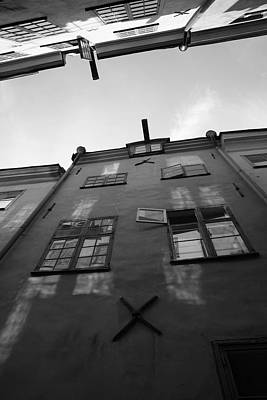 Medieval Houses Seen From Below - Monochrome Art Print by Ulrich Kunst And Bettina Scheidulin