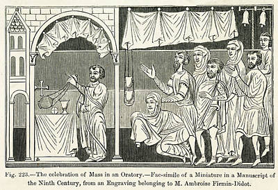 Medieval Mass The Celebration Of Mass Art Print by Mary Evans Picture Library