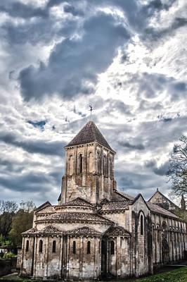 Medieval Monastery Under Swirling Clouds Print by Nila Newsom