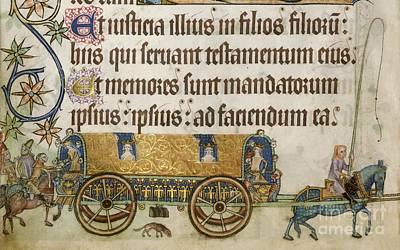 Medieval Royal Coach, Luttrell Psalter Art Print by British Library