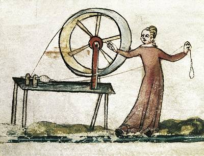 Fine Thread Photograph - Medieval Spinster. Miniature In The by Everett