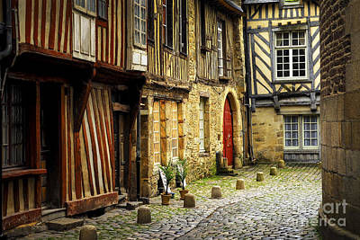 Courtyard Photograph - Medieval Street In Rennes by Elena Elisseeva