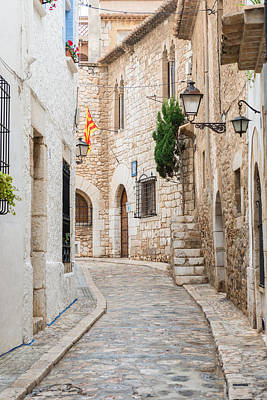Medieval Street In Sitges Old Town Spain Art Print