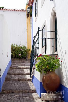 White Flower Photograph - Medieval Street Of Obidos by Jose Elias - Sofia Pereira