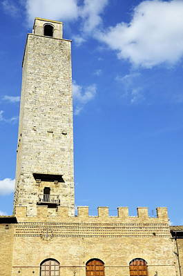 Medieval Tower In San Gimignano Art Print by Sami Sarkis
