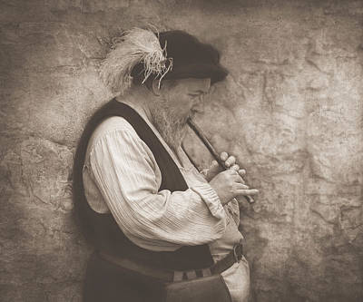 Medieval Flute Player Art Print by Pat Abbott