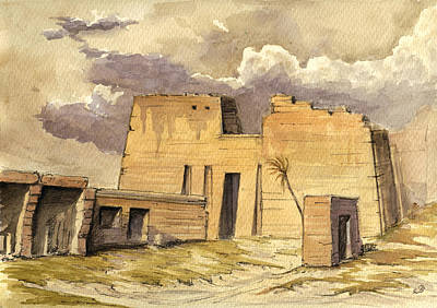Camels Painting - Medinet Temple Egypt by Juan  Bosco