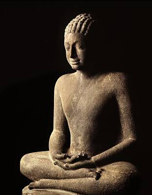 Contemplative Sculpture - Meditating Buddha, Davaravati Period by Thai School