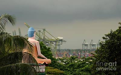 Art Print featuring the photograph Meditating Buddha Views Container Seaport Singapore by Imran Ahmed