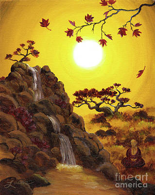 Painting - Meditating By A Golden Waterfall by Laura Iverson