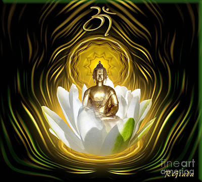 Meditating With Buddha Art Print by Giada Rossi