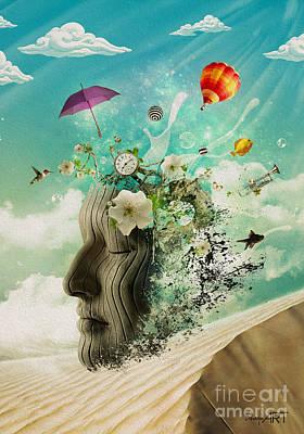 Balloon Flower Digital Art - Meditation by Donika Nikova