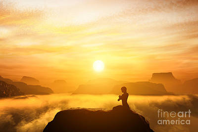 Meditation In High Mountains At Sunset Art Print by Michal Bednarek